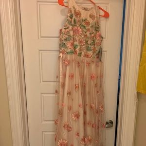 Embroidered Floral Dress Tahari By ASL